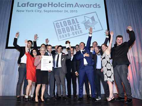 Celebration by the Global Bronze prize winning team of the LafargeHolcim Awards: a consortium led …