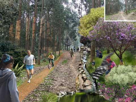 Mountain trail for land preservation and urban demarcation