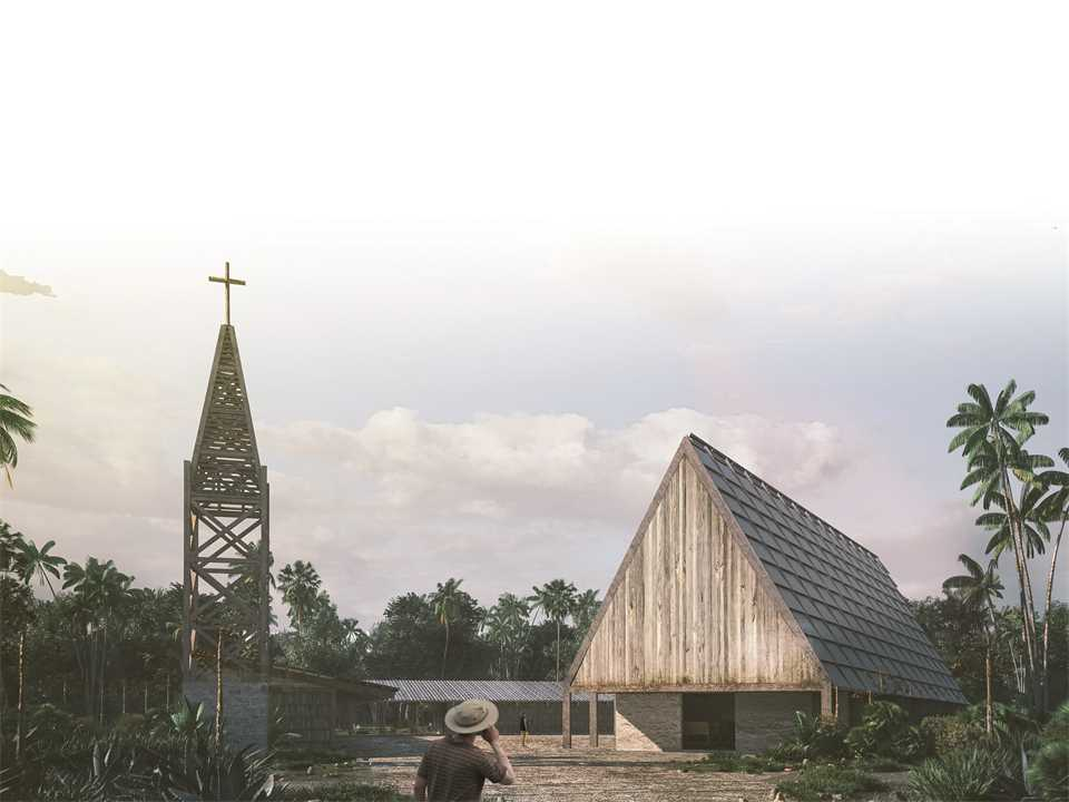 """Next Generation"" 2nd prize – Laguna Chapel: Recycled timber church and community center, …"
