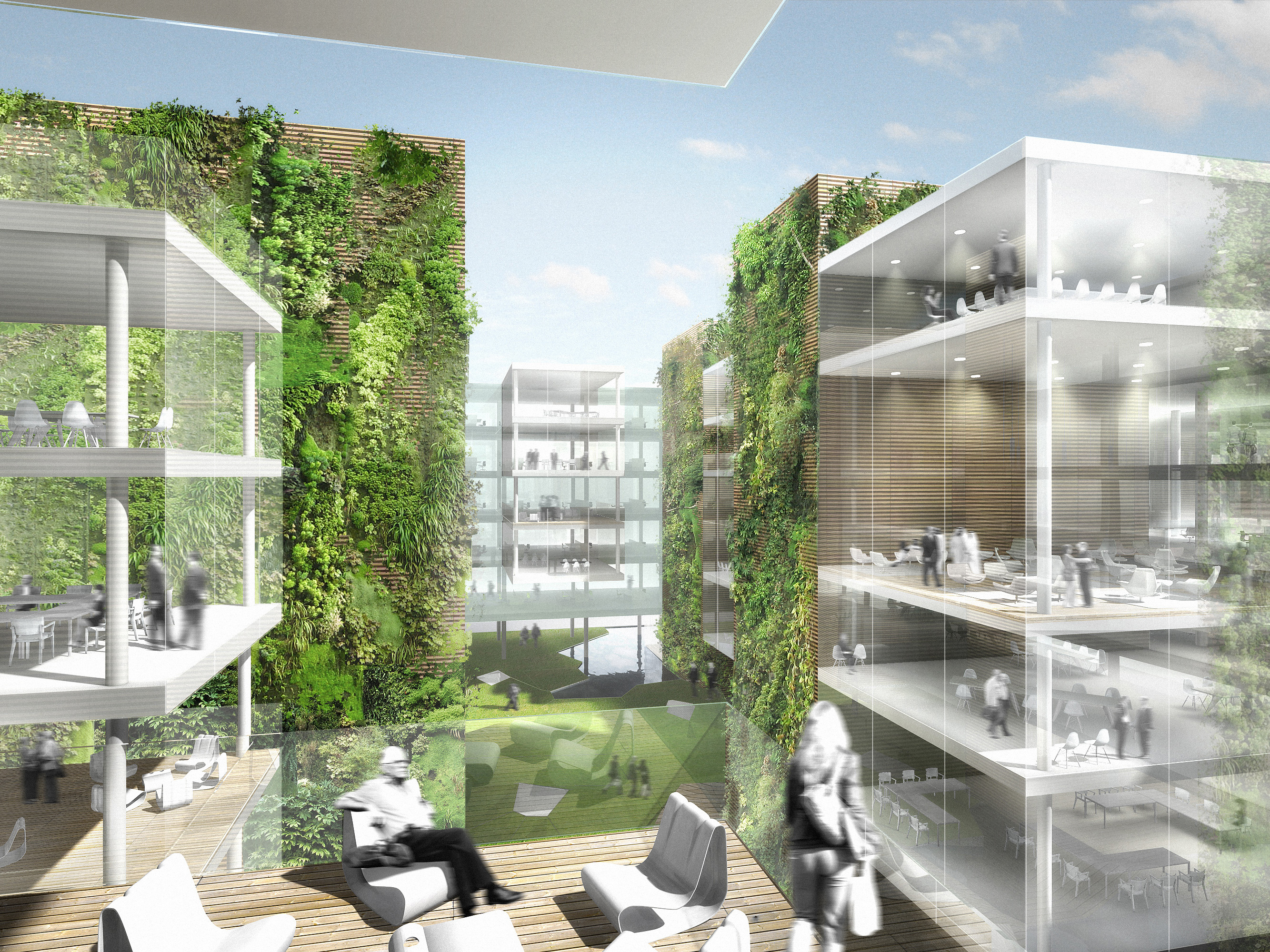Office building with green hypercore Green plans