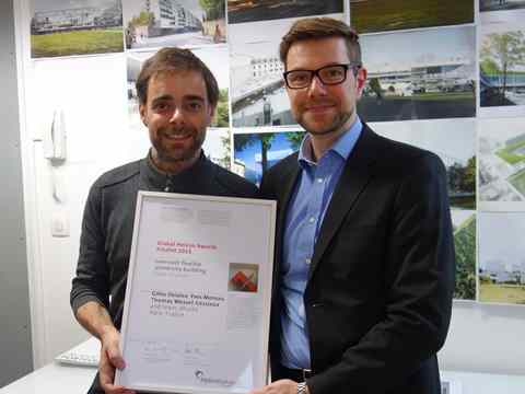 Global Awards 2015 finalist certificate handover in Paris, France – Public Condenser: …
