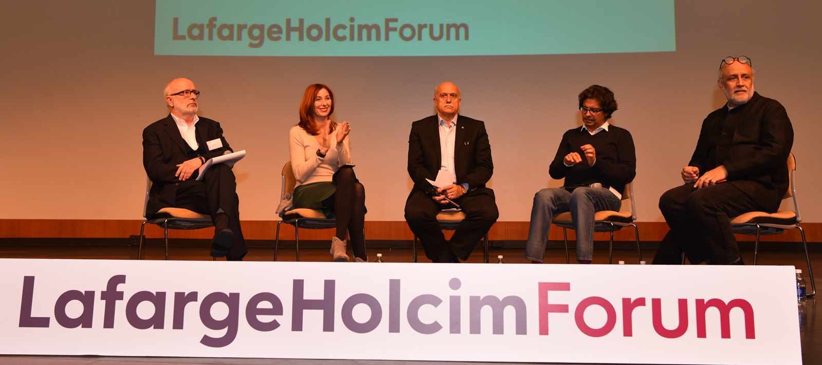 Concluding panel at the LafargeHolcim Forum 2016 (l-r): Rolf Soiron (Switzerland), Maria …
