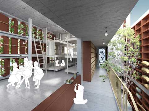The children's living space enjoys a vertical nursery on one side and views of the courtyard.