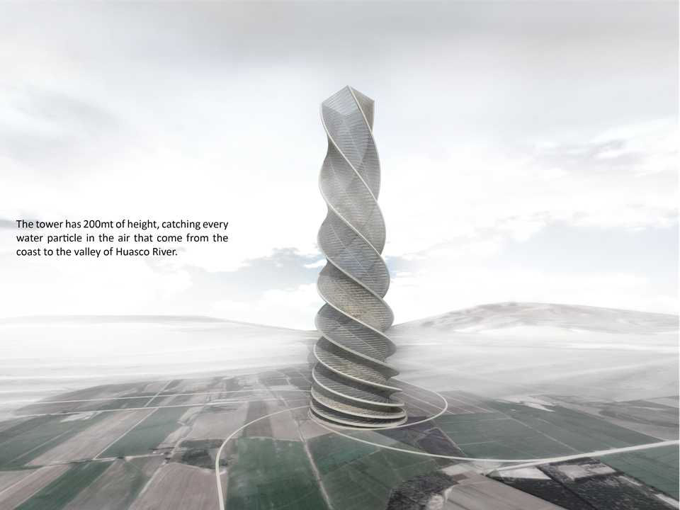 "Holcim Awards ""Next Generation"" 1st prize 2008 Latin America: Coastal fog-harvesting tower, …"