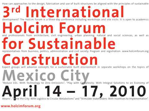 "3rd International Holcim Forum to focus on ""Re-Inventing Construction"""