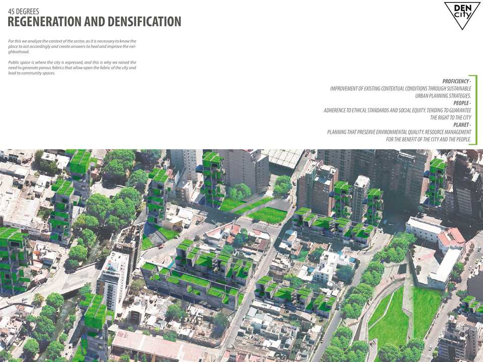 """Next Generation"" 3rd prize – Den-City: Urban regeneration through densification, Córdoba, …"