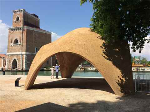 The impressive vaulted Droneport prototype of low-carbon compressed earth and cement …