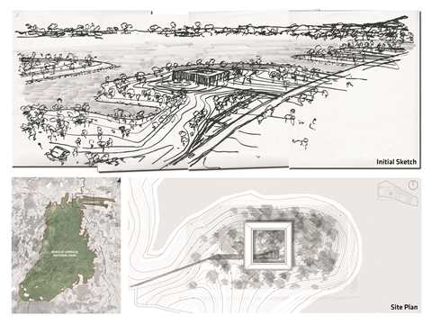 Initial sketch and site plan: Relation of the site to its surrounding territory.