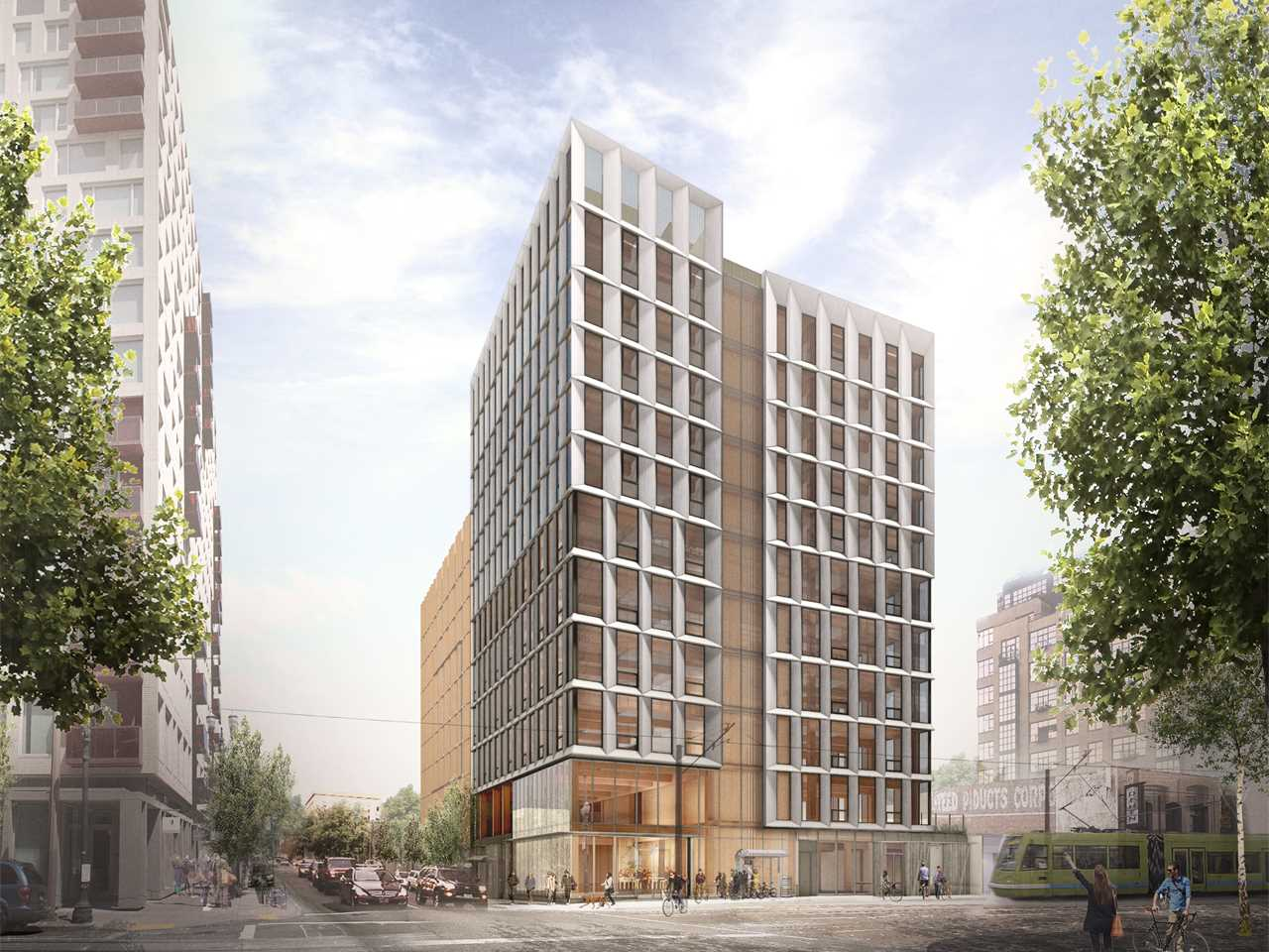 All-timber high-rise load-bearing structure, Portland, OR, USA
