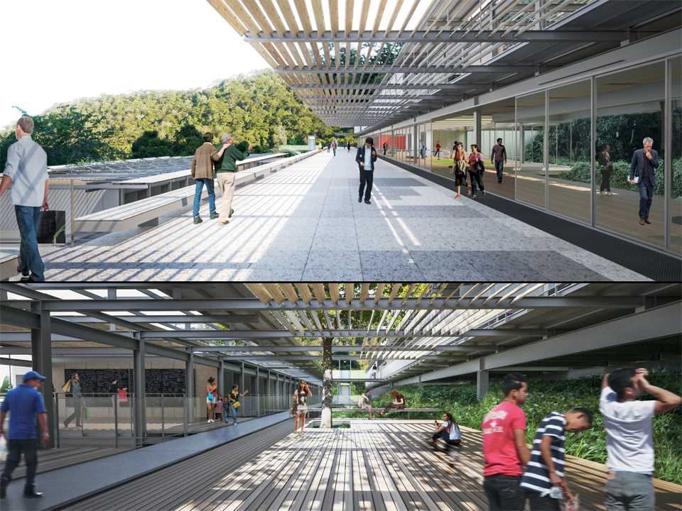 Top image: pedestrian street/terrace/belvedere; Bottom image: outdoor learning space.