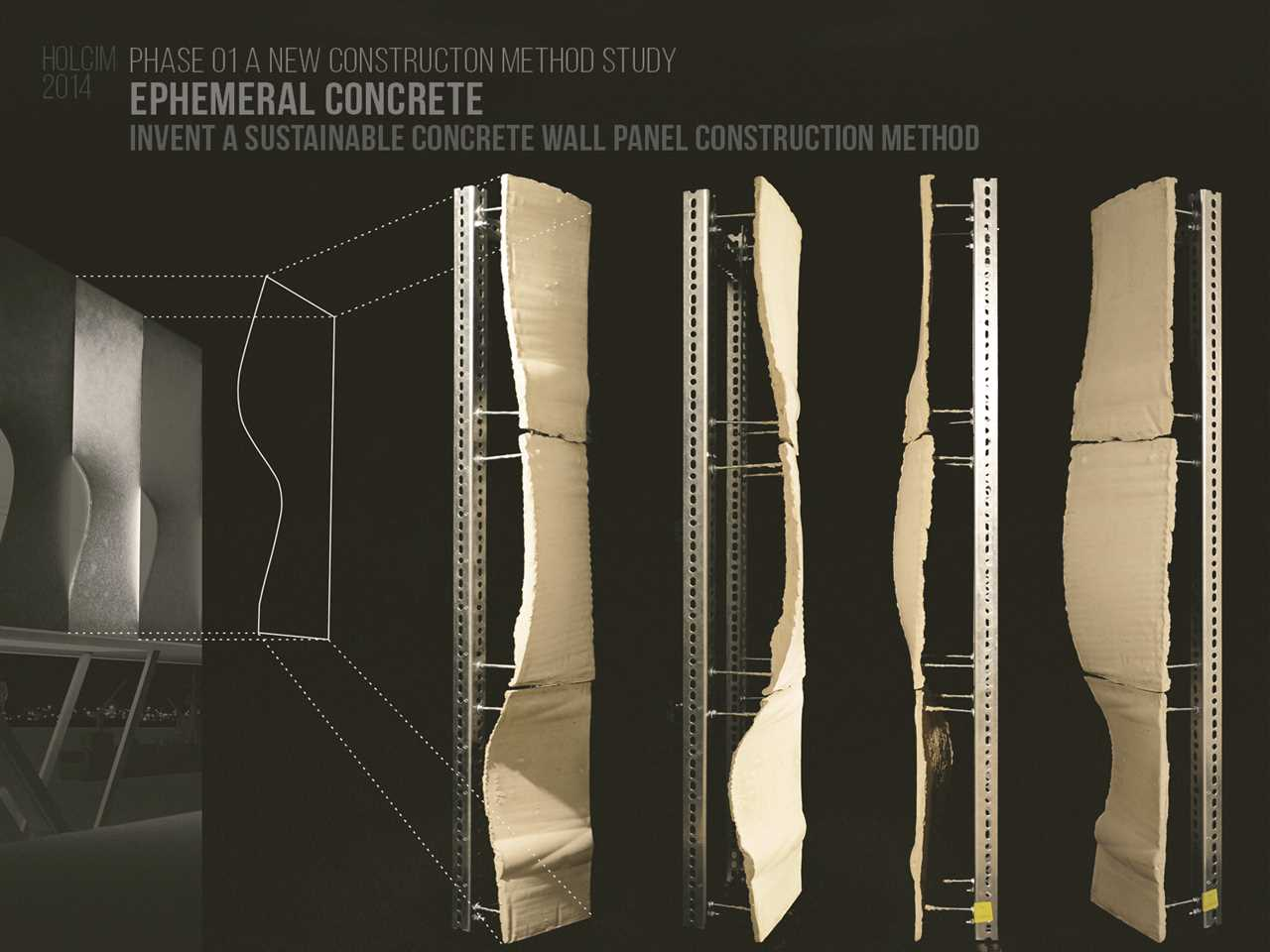 "Holcim Awards ""Next Generation"" 6th prize 2014 North America: Latex Formwork Concrete wall …"