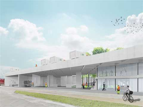 Adaptable structure for a garbage collection company, Brussels, Belgium
