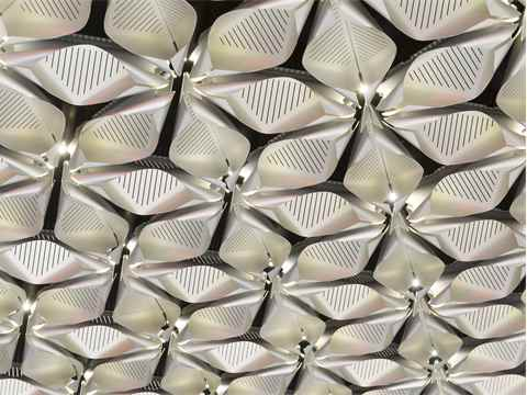 A multifunctional ceiling made from two and a half million petals. One in five has an LED …