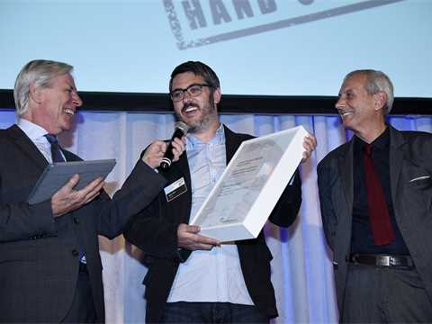Global Awards 2015 finalist certificate handover in New York City USA – Hy-Fi: Zero carbon …