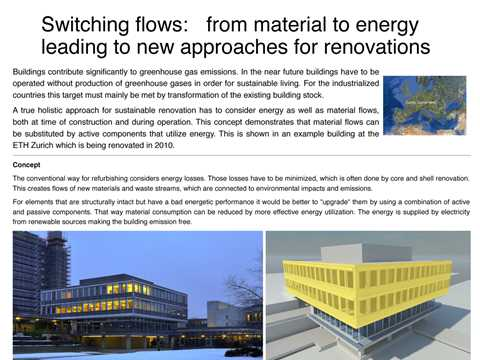 Switching flows: from material to energy leading to new approaches for renovations