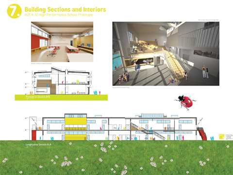 Project entry 2011 - Zero net energy school building, Los Angeles, USA: Renderings and sections.