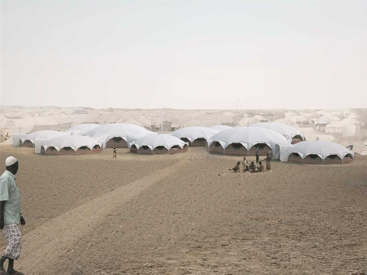 Holcim Awards Acknowledgement prize - White Canvas: Health center and school in refugee camp, …