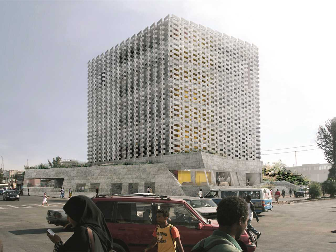 Holcim Awards Acknowledgement prize - Weaving Publicness: Socially-integrated office …