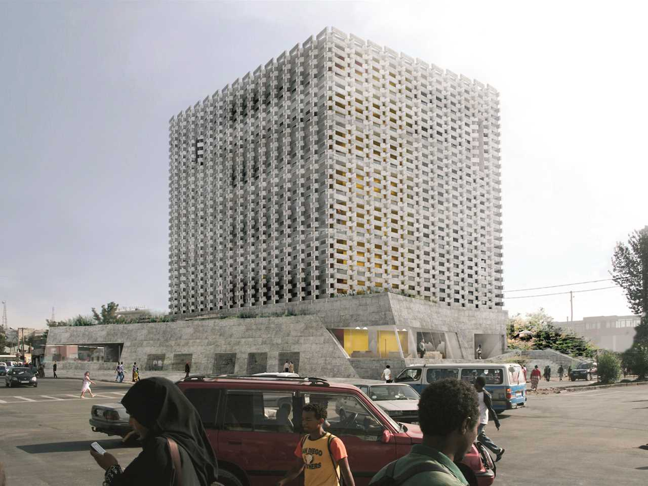 Holcim Awards Acknowledgement prize - Weaving Publicness: Socially-integrated office building …