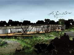 Environmental center and bird-watching facility using recycled materials, Chicago, IL, USA