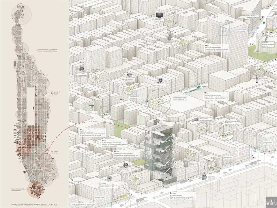 "Holcim Awards ""Next Generation"" 1st prize 2014 North America: Trash for Use Municipal center for …"