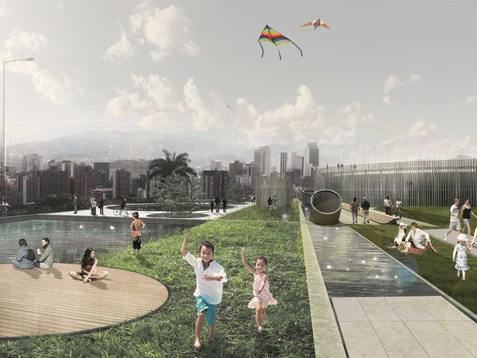 Gold – Articulated Site: Water reservoirs as public park, Medellín, Colombia – This …