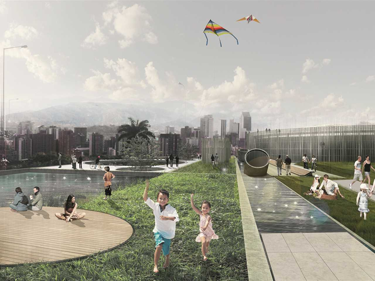 Gold – Articulated Site: Water reservoirs as public park, Medellín, Colombia – This project for a …