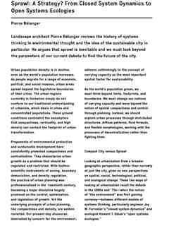 """""""Sprawl: A Strategy? From Closed System Dynamics to Open Systems Ecologies"""" in The Economy …"""