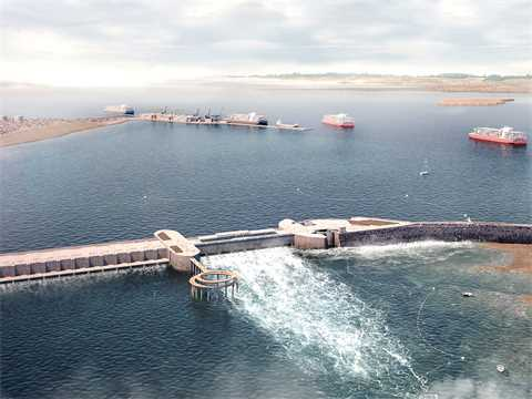 Aerial view: tidal power station and new port in activity.