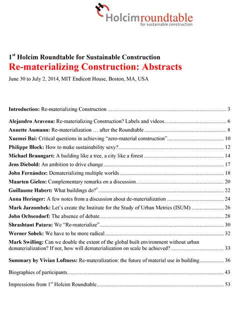 Roundtable 2014 – Re-materializing Construction – Boston (expert abstracts)