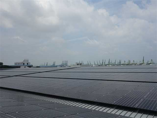 Some of the more than 1,2000 photovoltaic solar panels on roof with cargo port cranes in …